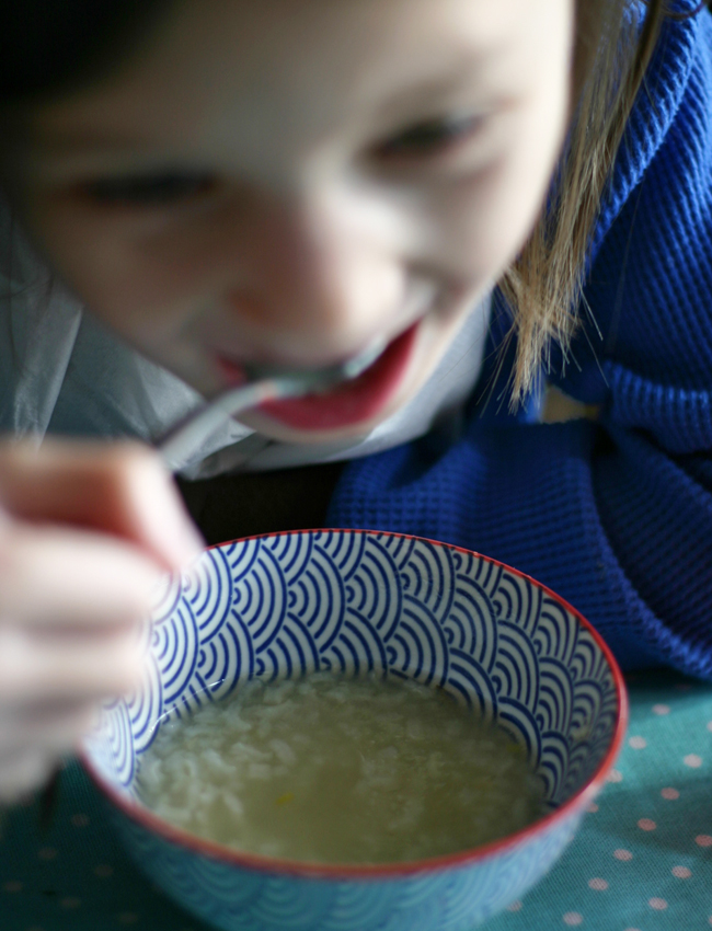 A warm bowl of Vietnamese Chao Ga or congee