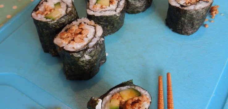 Leftovers turned into sushi rolls.