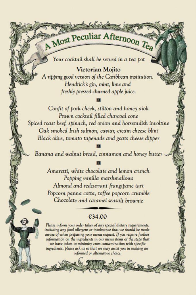 A Most Peculiar Afternoon Tea menu at the Westin Hotel | Dublin, Ireland